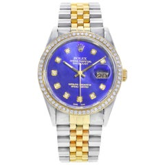 Rolex Datejust 16233 Steel 18K Gold Custom Bezel and Dial Automatic Men's Watch