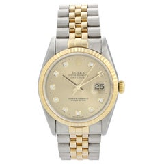 Rolex Datejust 16233G Diamond Dial Men Watch Box Papers
