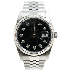 Rolex Datejust 16234 Black Diamond Dial Stainless Steel and 18 Karat Gold Bezel