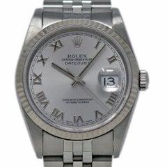 Rolex Datejust 16234 Stainless Steel White Gold Bezel 1989 Warranty #I2437