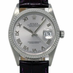 Rolex Datejust 16234 Steel and White Gold Silver Leather 2 Year Warranty