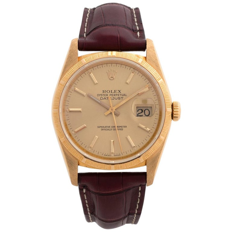 Rolex Datejust 16248 'Bark'.  18K Yellow Gold, Box & Papers. Vintage.