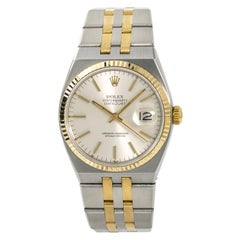 Rolex Datejust 17013 Men's Oyster Quartz Watch Silver Dial 18 Karat Two-Tone