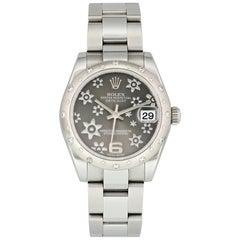 Rolex Datejust 178344 Diamond Bezel Rhodium Dial Midsize Ladies Watch