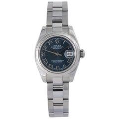 Rolex Datejust 179160 Ladies Watch Blue Dial Stainless Steel