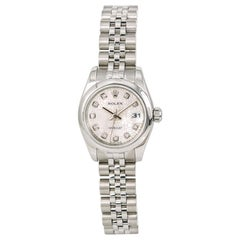 Rolex Datejust 179160 Womens Automatic Watch Factory Diamond Dial Stainless