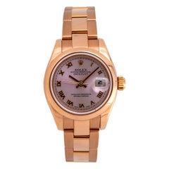 Rolex DateJust 179165 18K Everose Gold ladies watch with Box