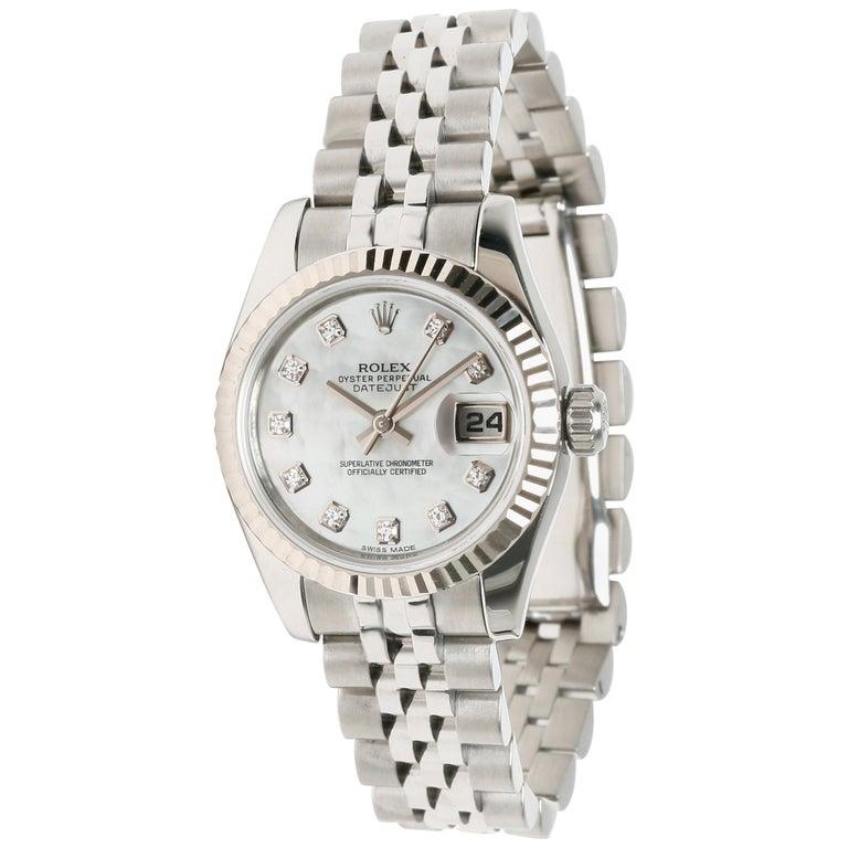 Rolex Datejust 179174 Women's Watch in 18 Karat White Gold/Steel For Sale