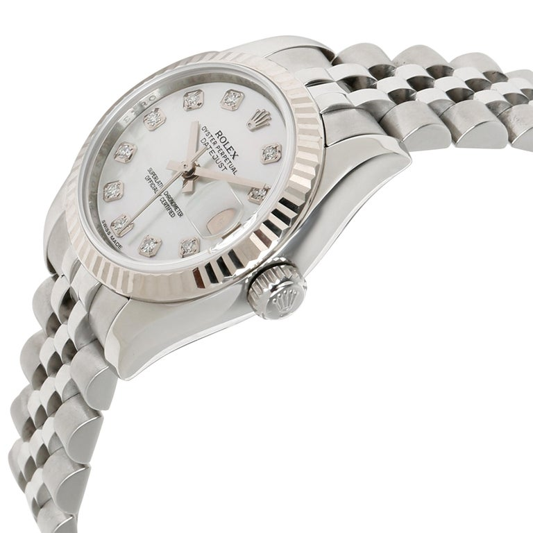 Rolex Datejust 179174 Women's Watch in 18 Karat White Gold/Steel In Excellent Condition For Sale In New York, NY