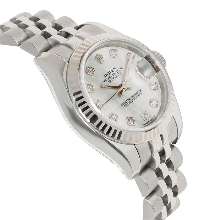 Rolex Datejust 179174 Women's Watch in 18 Karat White Gold/Steel For Sale 1