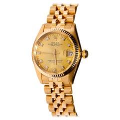 Rolex Datejust 18 Karat Gold Champaign Diamond Dial Jubilee Bracelet Watch