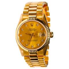 Rolex Datejust 18 Karat Yellow Gold Original Champaign Automatic Dial Watch 1991