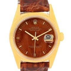 Rolex Datejust 18 Karat Yellow Gold Wood Dial Vintage Men's Watch 16018