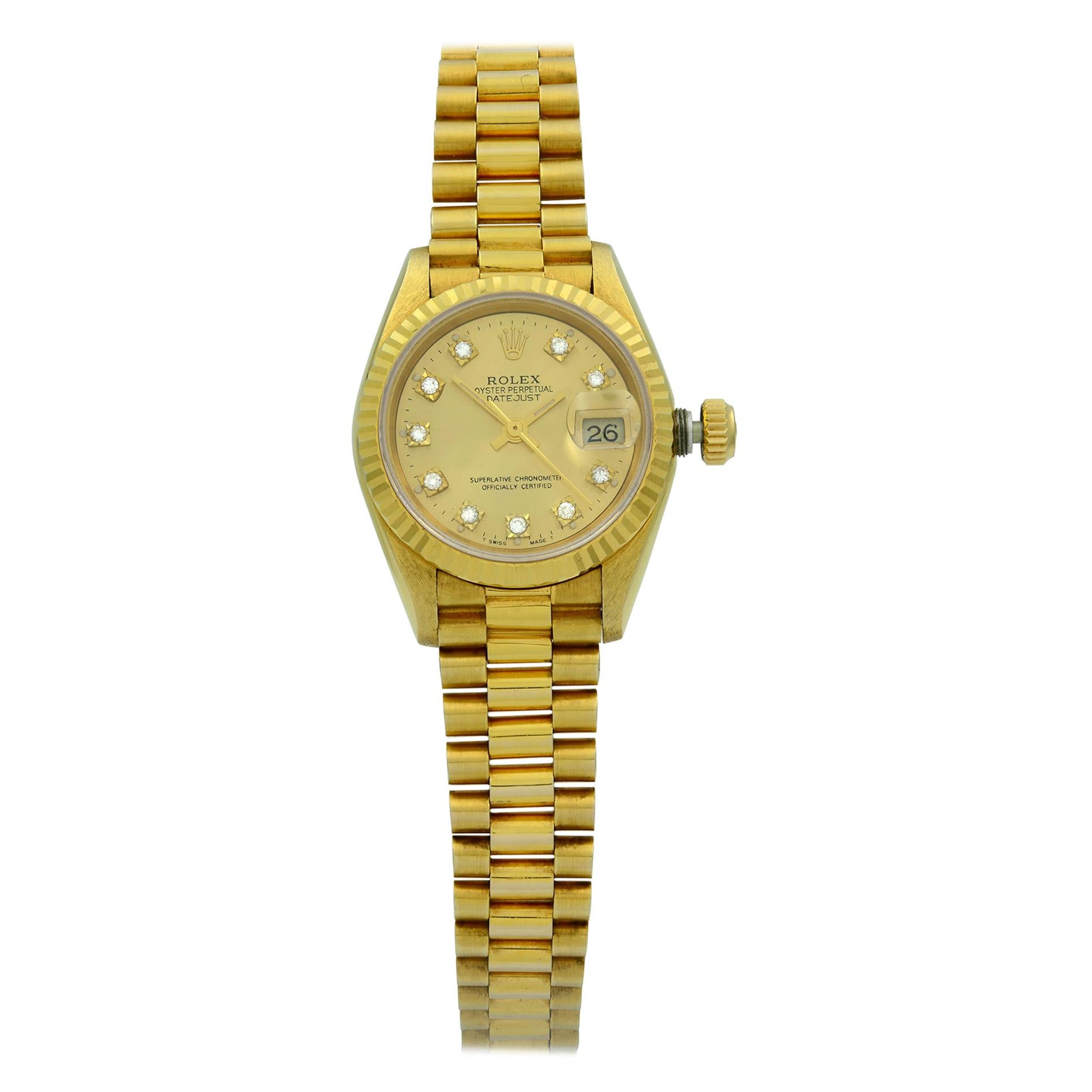 Rolex Datejust 18K Gold Champagne Diamond Dial President Ladies Watch 69178G