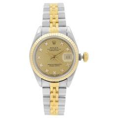 Rolex Datejust 18k Gold Champagne Factory Diamond Dial Ladies Watch 69173