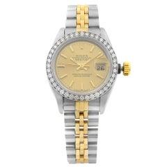 Rolex Datejust 18K Gold Stainless Steel Custom Diamond Bezel Ladies Watch 69173