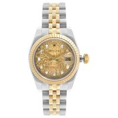Rolex Datejust 18k Gold Steel Diamond Dial Automatic Ladies Watch 17917