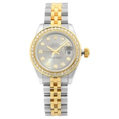 Rolex Datejust 18K Gold Steel Diamond Slate Dial Automatic Ladies Watch 179173