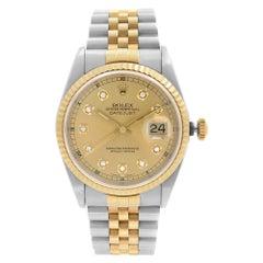 Rolex Datejust 18K Gold Steel Factory Diamond Dial Mens Watch 16233