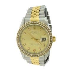 Rolex Datejust 18 Karat Gold/Steelchampagne Diamond Dial and Bezel Watch