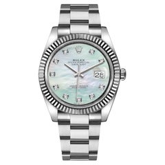Rolex Datejust 18k Mother of Pearl Diamond Dial Oyster Men's Watch 126334
