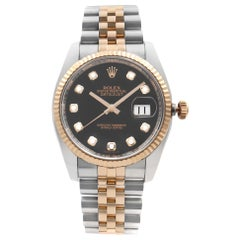 Rolex Datejust 18k Rose Gold Steel Diamond Black Dial Men's Watch 116231BKDJ