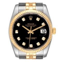 Rolex Datejust 18k Steel Yellow Gold Black Diamond Mens Watch 116233