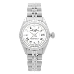 Rolex Datejust 18k White Gold Steel White Dial Automatic Ladies Watch 6917