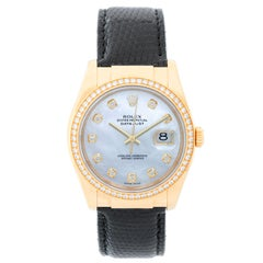 Rolex Datejust 18k Yellow Gold Men's Watch on Leather Strap Band 116188