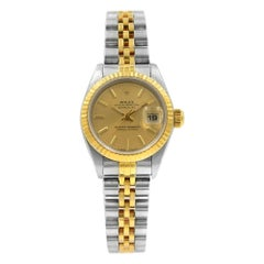 Rolex Datejust 18k Yellow Gold No Holes Case Champagne Dial Ladies Watch 69173