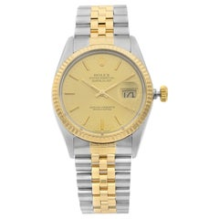 Rolex Datejust 18K Yellow Gold Steel Champagne Dial Automatic Men's Watch 16013