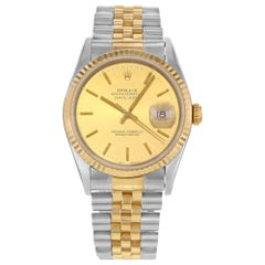Rolex Datejust 18K Yellow Gold Steel Champagne Dial Automatic Men's Watch 16233