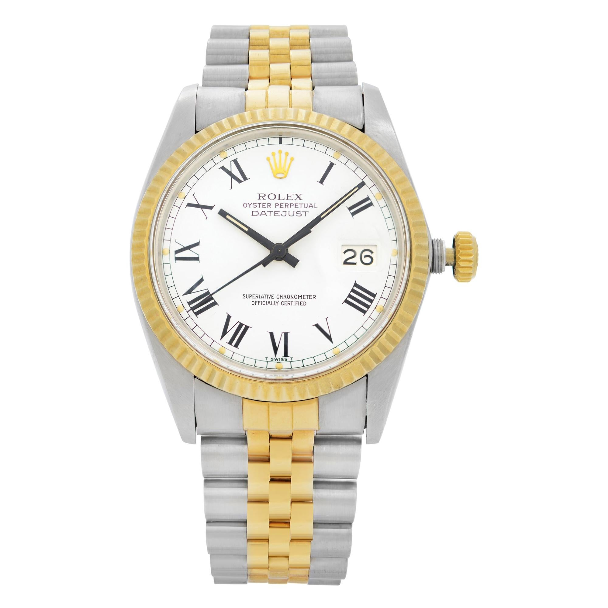 Rolex Datejust 18k Yellow Gold Steel White Dial Automatic Men's Watch 16013
