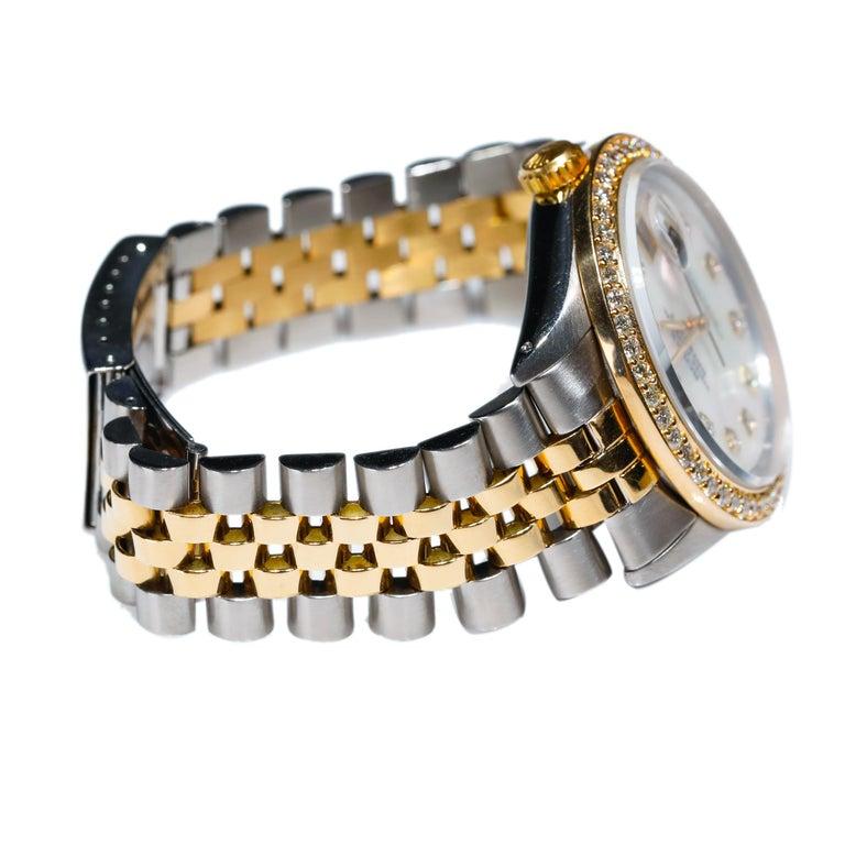 Round Cut Rolex Datejust 1978 Men's Watch Diamond Bezel & Gold Diamond Dial Steel Jubilee For Sale