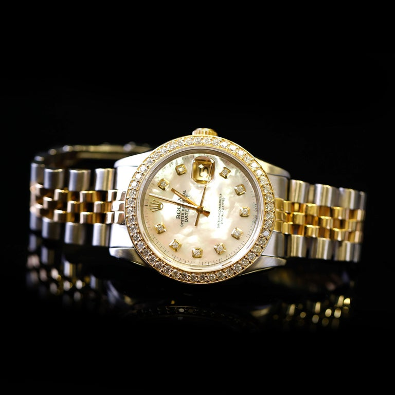 Rolex Datejust 1978 Men's Watch Diamond Bezel & Gold Diamond Dial Steel Jubilee In Excellent Condition For Sale In New York, NY