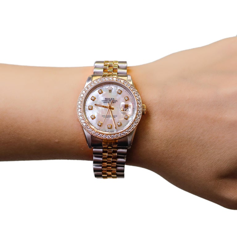 Rolex Datejust 1978 Men's Watch Diamond Bezel & Gold Diamond Dial Steel Jubilee For Sale 2