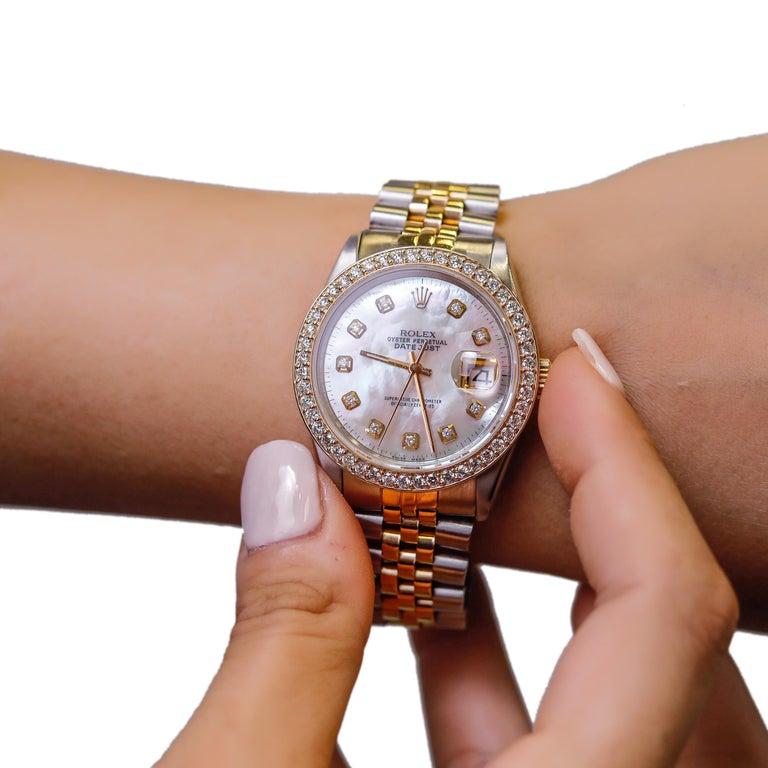 Rolex Datejust 1978 Men's Watch Diamond Bezel & Gold Diamond Dial Steel Jubilee For Sale 3