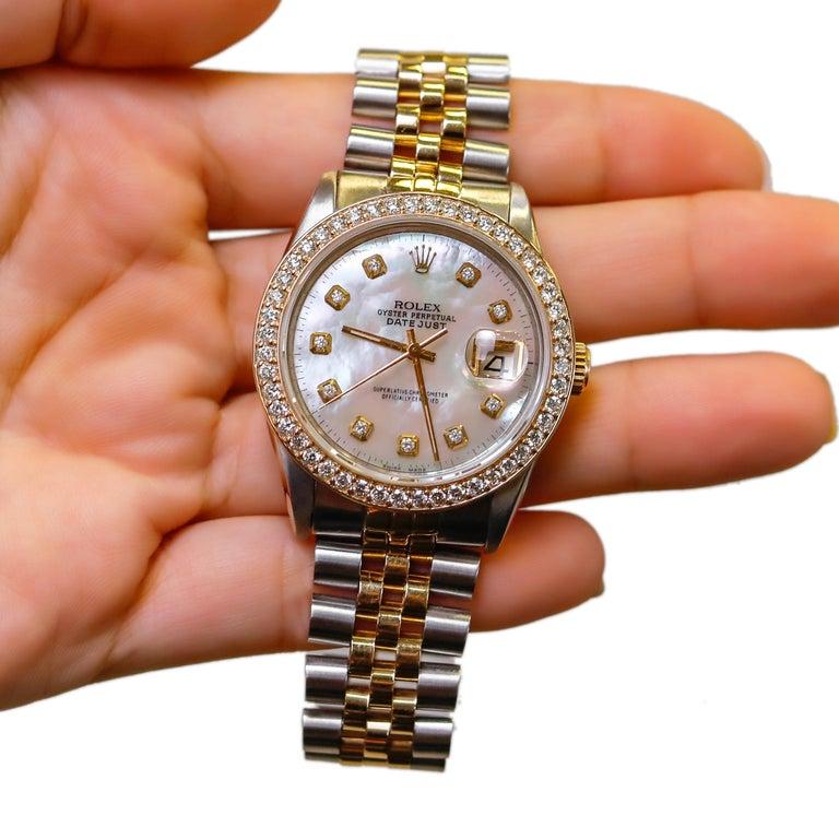Rolex Datejust 1978 Men's Watch Diamond Bezel & Gold Diamond Dial Steel Jubilee For Sale 5