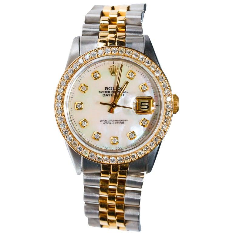 Rolex Datejust 1978 Men's Watch Diamond Bezel & Gold Diamond Dial Steel Jubilee For Sale