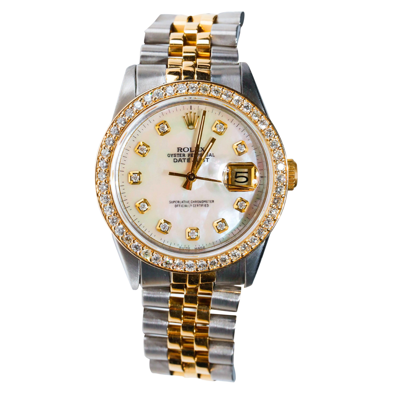 Rolex Datejust 1978 Men's Watch Diamond Bezel & Gold Diamond Dial Steel Jubilee