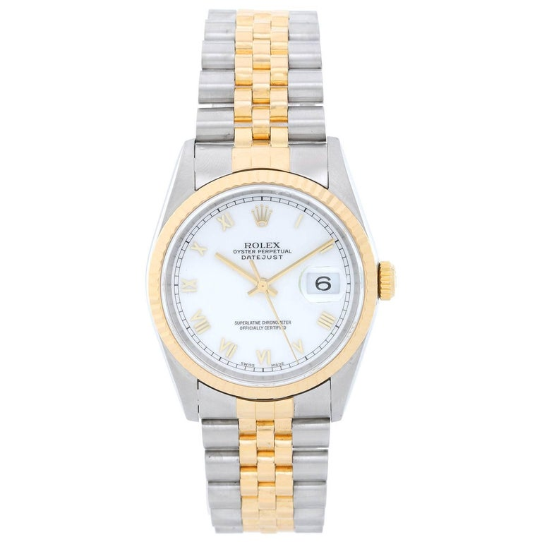 Rolex Yellow Gold Stainless Steel Datejust Automatic Wristwatch Ref 16233