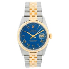 Rolex Datejust 2-Tone Men's Steel and Gold Blue Dial Watch 16013