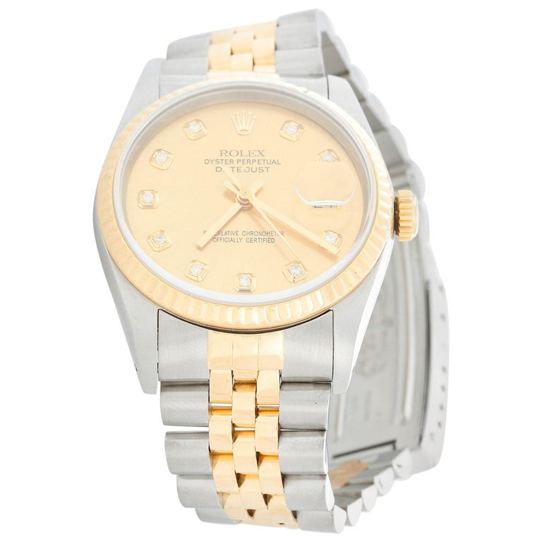 Rolex Datejust 2-Tone Men's Steel and Gold Watch 16233 For Sale