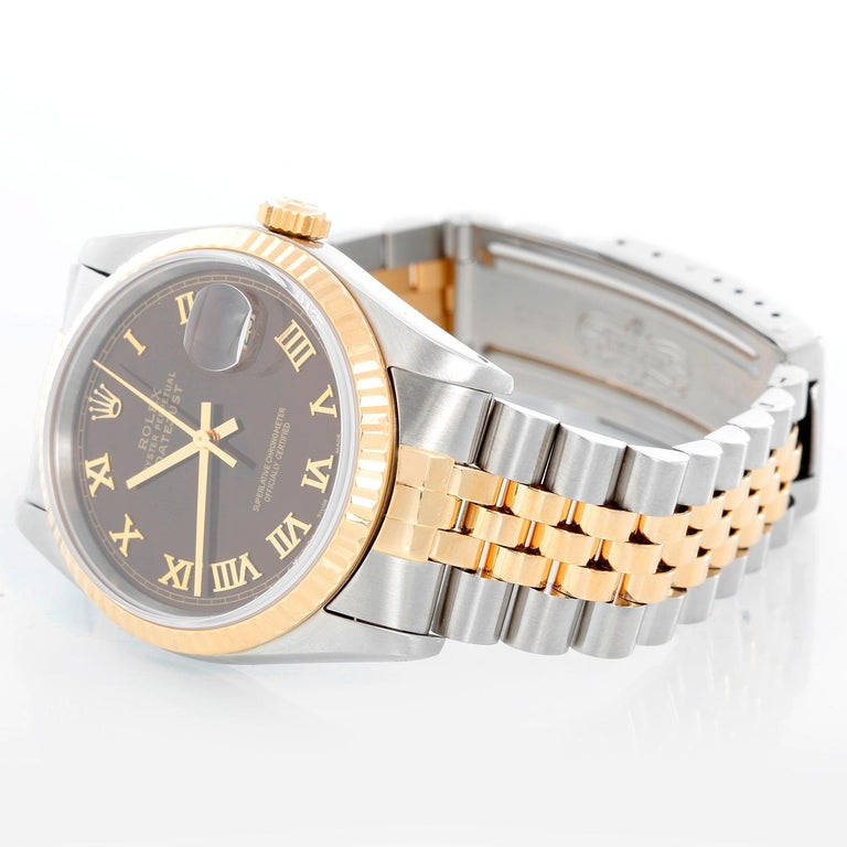 Rolex Datejust 2-Tone Men's Steel & Gold Watch 16233 - Automatic winding, Quickset, sapphire crystal. Stainless steel case with yellow gold bezel (36mm diameter). Copper dial with Roman numerals . Stainless steel and 18k yellow gold Jubilee