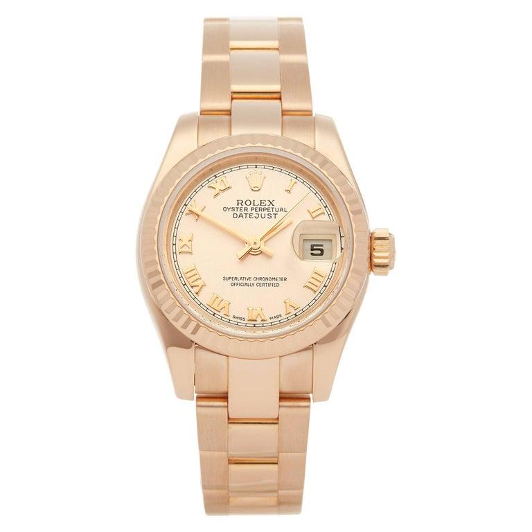 Rolex Datejust 26 18 Karat Rose Gold 179175 For Sale