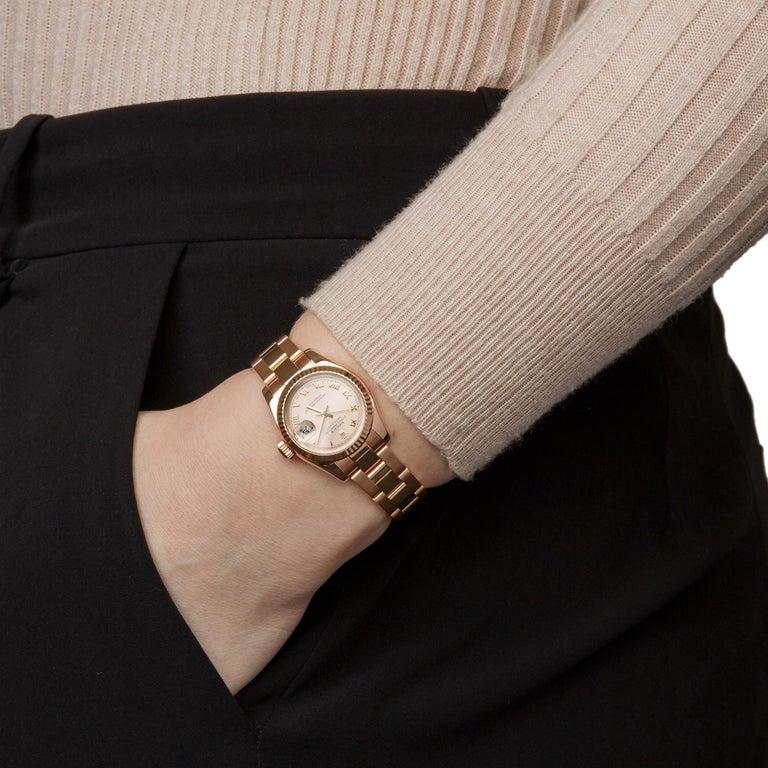 Rolex Datejust 26 18 Karat Rose Gold 179175 For Sale 4