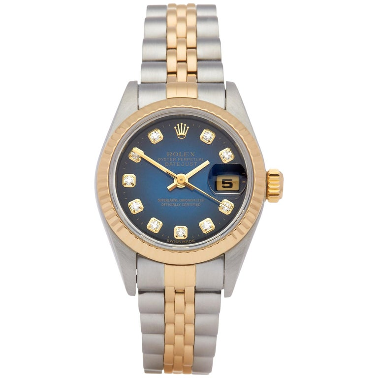 Rolex Datejust 26 69173 Ladies Stainless Steel and Yellow Gold Diamond Watch For Sale