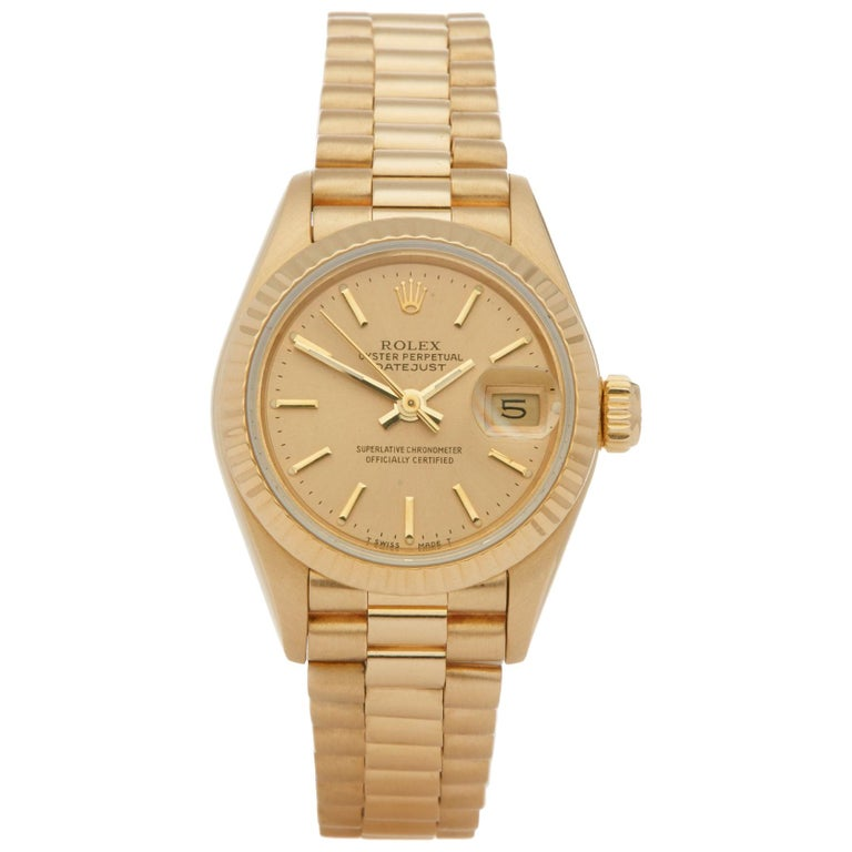 Rolex Datejust 26 69178 Ladies Yellow Gold Jubilee Dial Watch For Sale