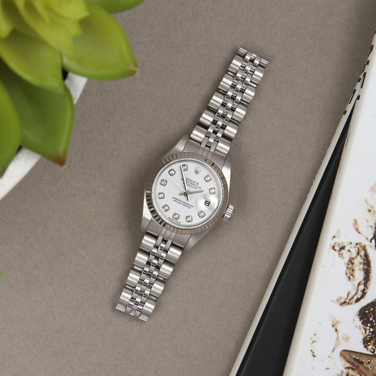 Rolex Datejust 26 79174 Ladies White Gold & Stainless Steel Watch For Sale 6