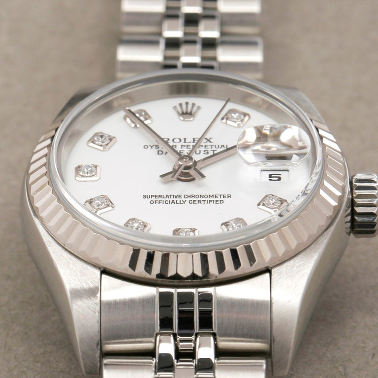 Rolex Datejust 26 79174 Ladies White Gold & Stainless Steel Watch For Sale 2